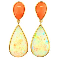 17.75 Carat Opal Pear Shape and Coral Cabochon 18k Dangle Drop Post Earrings