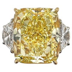 17.77 Carat Radiant Fancy Yellow Diamond Ring GIA Certified