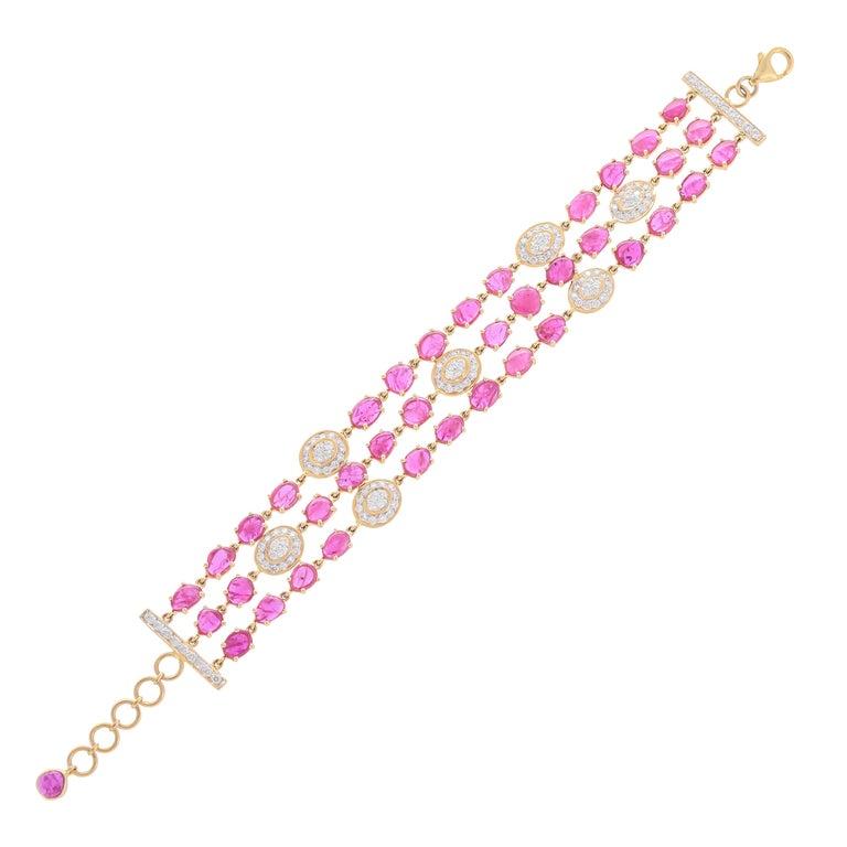 17.77 Carat Ruby Diamond 18 Karat Yellow Gold Bracelet For Sale
