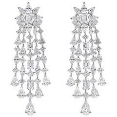 17.78 Carat Fancy Diamond Starburst Drop Chandelier Earrings