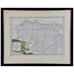 1779 Zatta Hand Colored Map of Northwestern Spain, Including Bilbao & Orviedo