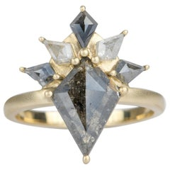 1.77ct Kite Shape Salt and Pepper Diamond 14k Yellow Gold Engagement Ring AD2332