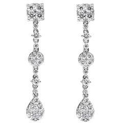 1.78 Carat Cluster Diamond Drop Earrings