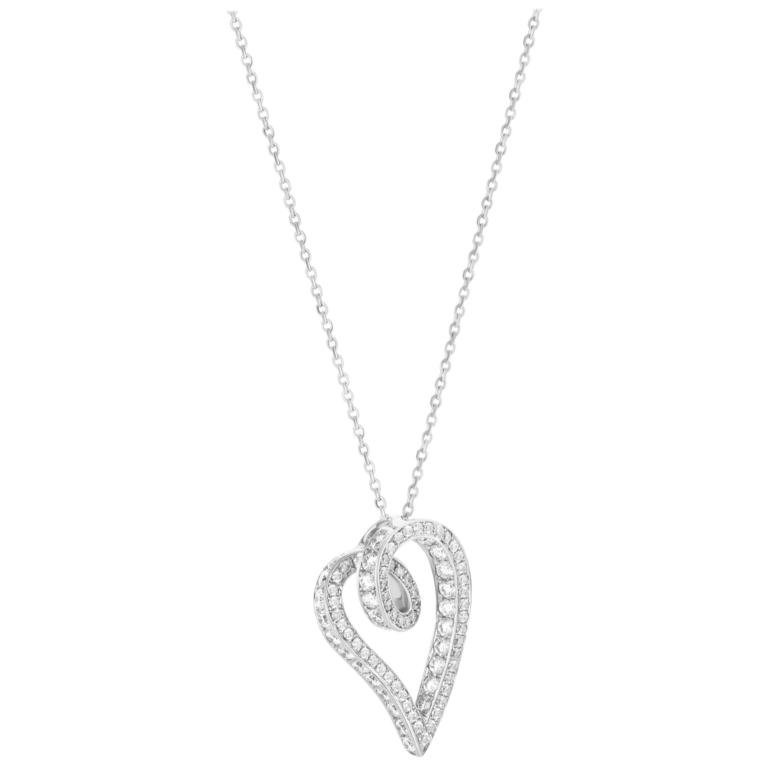 1.78 Carat Diamond 18 Karat White Gold Open Heart Pendant Necklace