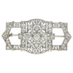 1930s Antique 1.78 Carat Diamond and Platinum Brooch