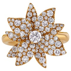 1.78 Carat Diamond Lotus Flower Ring