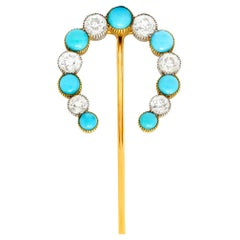 1.78 Carat Diamond Turquoise Platinum 18 Karat Gold Horseshoe Stickpin
