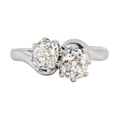 1.78 Carat Diamond Two-Stone Twist Platinum Engagement Ring, Circa 1930's