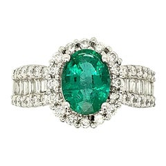 1.78 Carat Emerald and Diamond Cocktail Ring