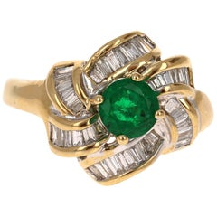 1.78 Carat Emerald Diamond 14 Karat Yellow Gold Cocktail Ring