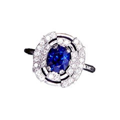 1.78 Carat Natural Royal Blue Burma Sapphire Contemporary Engagement Ring