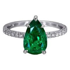 1.78 Carat Pear Shape Emerald Ring