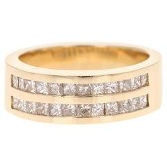 1.78 Carat Princess Cut Diamond Men's Wedding Band 14 Karat Yellow Gold