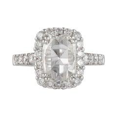 1.78 Carat Rose Cut Diamond with Halo Engagement Ring 18 Karat White Gold