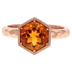 1.78 Carat Round Cut Citrine Quartz Rose Gold Ring
