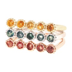 1.78 Carat Round Cut Multi-Color Sapphire White Yellow Rose Gold Stackable Bands