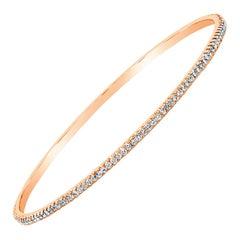 Roman Malakov 1.78 Carat Round Diamond Bangle Bracelet in 18 Karat Rose Gold