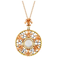 1.78 Carat Round Moonstone and Diamond Halo, Yellow and Rose Gold Pendant