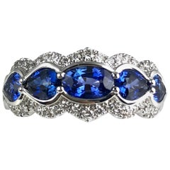 1.78 Carat Sapphire Ring with 0.29 Carat Diamond in 18 Karat White Gold
