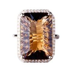 17.8 Carat Smoky Quartz Diamond Ring 14 Karat Yellow Gold