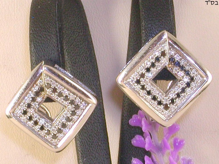 1.78 Carat White Gold Black Diamond Earrings In New Condition For Sale In Antwerp, BE