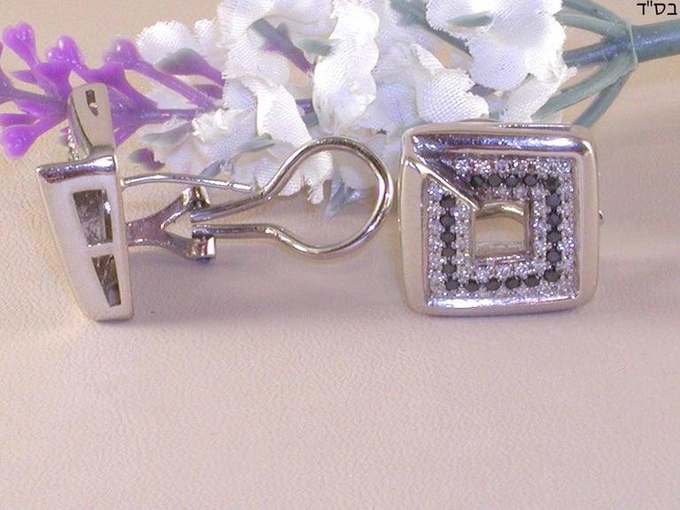 Women's 1.78 Carat White Gold Black Diamond Earrings For Sale