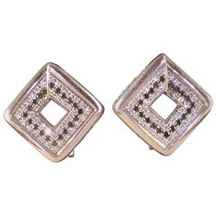 1.78 Carat White Gold Black Diamond Earrings