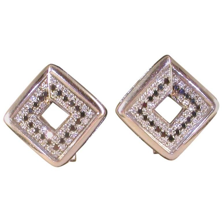 1.78 Carat White Gold Black Diamond Earrings For Sale