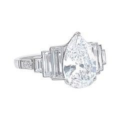 1.78 Pear Shape Diamond Engagement Ring Platinum