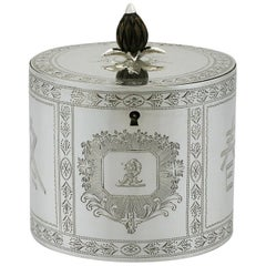 1780 Antique Georgian Sterling Silver Locking Tea Caddy