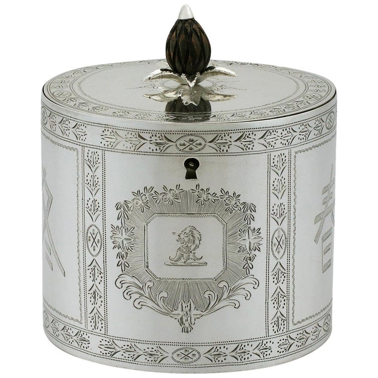 1780 Antique Georgian Sterling Silver Locking Tea Caddy For Sale
