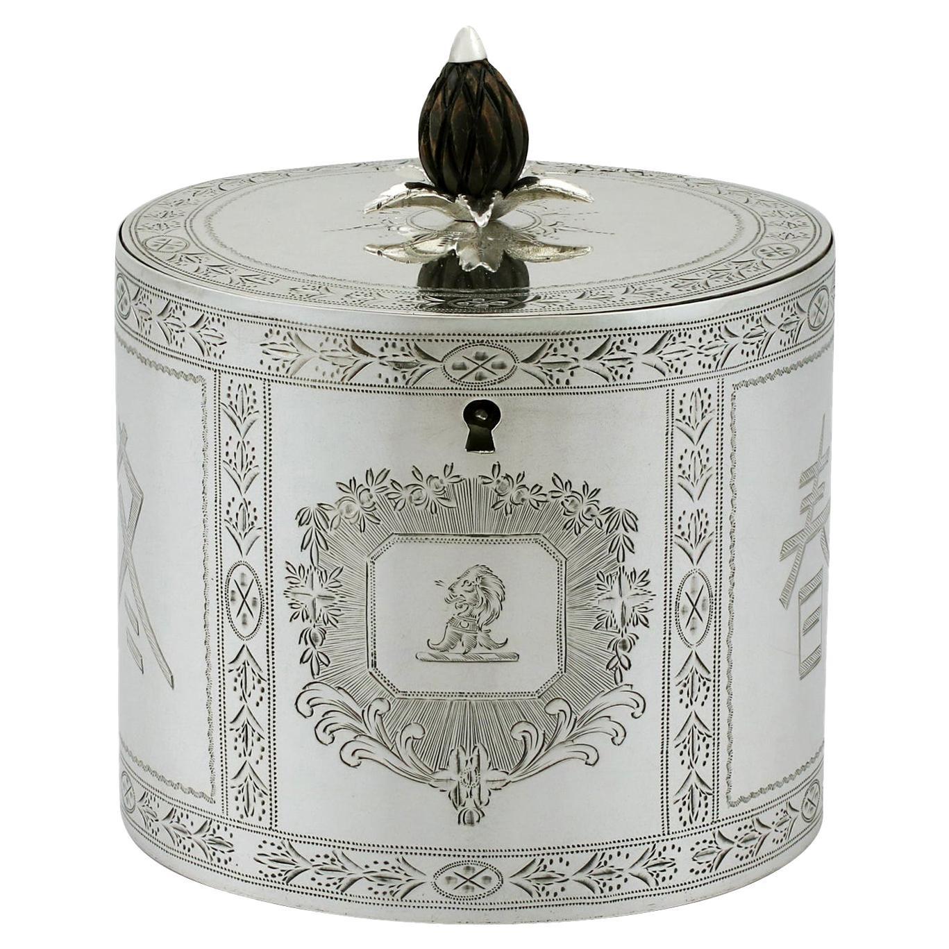 1780 Antique Georgian Sterling Silver Locking Tea Caddy