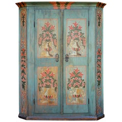 1780 Blue Floral Painted Wardrobe