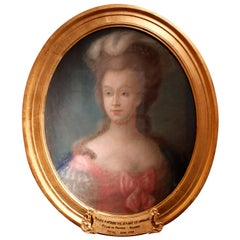 1780 Oval Pastel on Canvas Depiction of Queen Marie-Antoinette in Original Frame