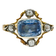 1780s Georgian 2.35 Carat Sapphire Diamond Silver-Topped 18 Karat Gold Ring