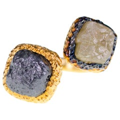 17.83 Carat Gray and Yellow Green Rough Diamond Twin Ring