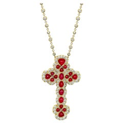 17.85 Carat Diamond and 24.00 Carat Cabochon Ruby Gold Cross Necklace