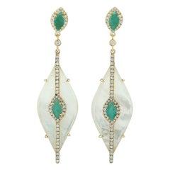 17.85 Carat Mother of Pearl Emerald Diamond 18 Karat Gold Earrings