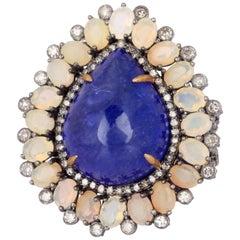 17.85 Carat Tanzanite Opal Diamond Ring