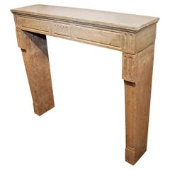 1785 Small French Louis XVI Stone Mantel in Muted Colors; Hand Carved
