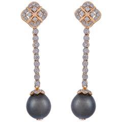 17.87 Carat Tahitian Pearl Diamond 18 Karat Yellow Gold Earrings