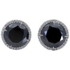 17.88 Carat Round Black Diamond Halo Stud Earrings