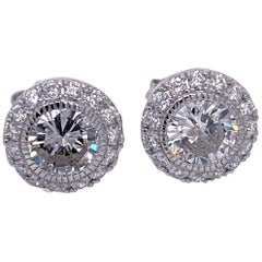 1.79 Carat 14 Karat Round Diamond Stud Earrings with Halo