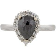 1.79 Carat Black Diamond Halo Pear Shape Ring 14 Karat in Stock