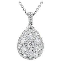1.79 Carat Cluster Diamond Tear Drop Pendant Necklace