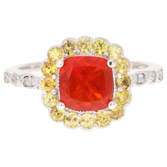 1.79 Carat Cushion Cut Fire Opal Diamond 14 Karat White Gold Ring