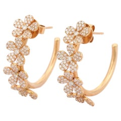 1.79 Carat Diamond 18 Karat Gold Flower Hoop Earrings