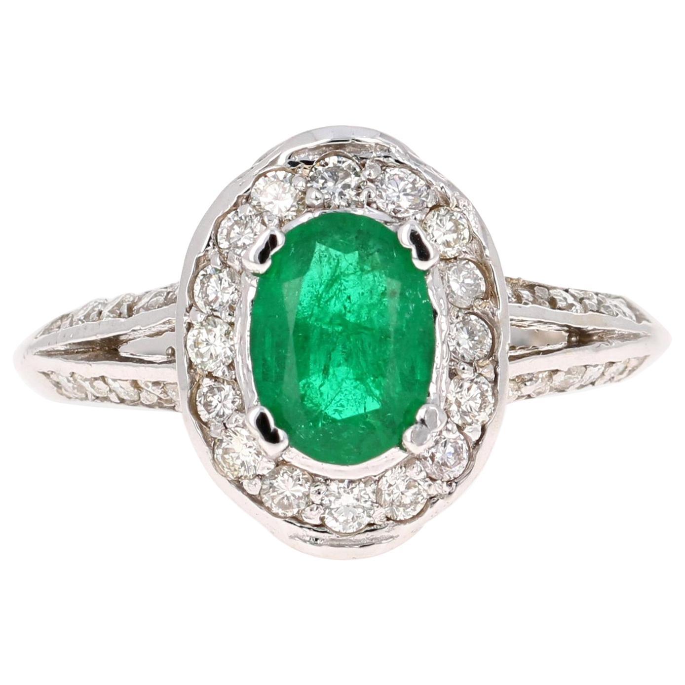 1.79 Carat Emerald Diamond 18 Karat White Gold GIA Certified Ring