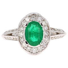 1.79 Carat Emerald Diamond 18 Karat White Gold GIA Certified Ring