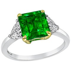 1.79 Carat Emerald Diamond Platinum Ring